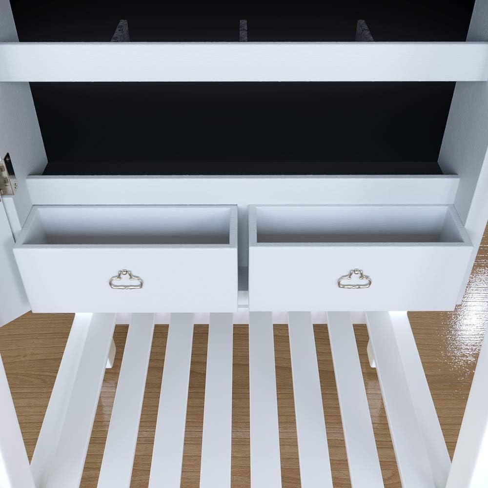 SONNI Schmuckschrank Rahmenlos Spiegel Standspiegel Schmuckregal wei/ß mit LED Beleuchtung verstellbar Spiegelschrank mit Regal