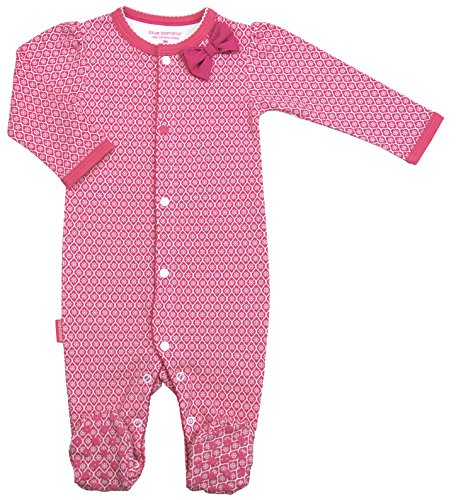 Blue Banana Baby Girls' Floral Bow Footie Footed Sleeper Pajamas, Fuchsia Print, 09 Months
