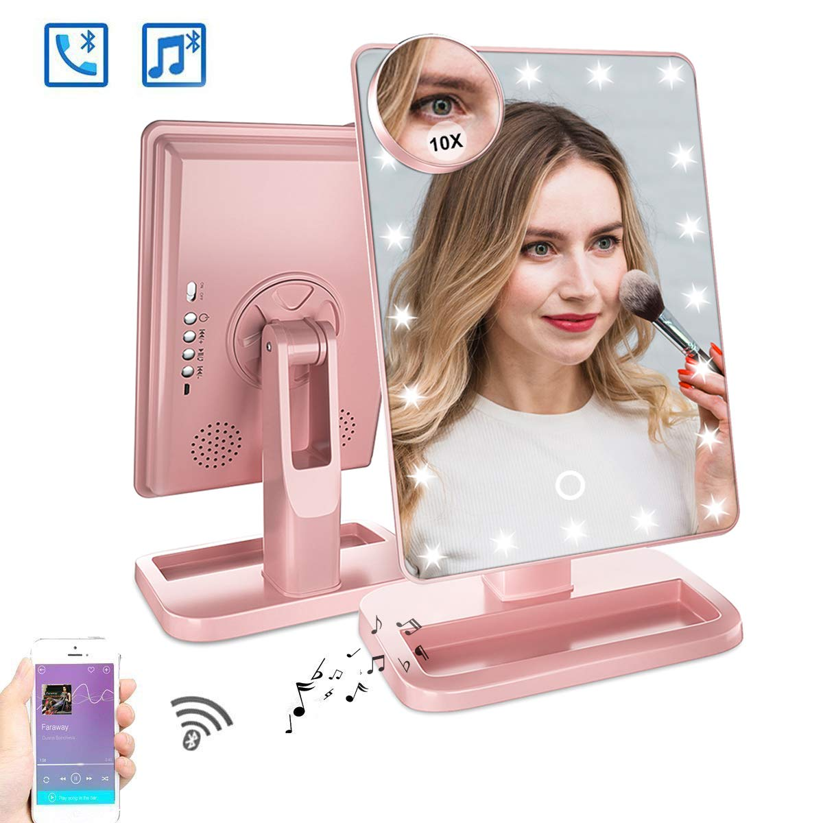 Fenair Makeup Vanity Mirror With Bluetooth-Rechargeable Lighted 20 LED Mirror,Touch Screen Cosmetic Vanity Mirror,Detachable 10X Magnification 180°Rotation, Light Up Desktop Makeup Mirror (Rose)