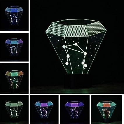 Doce constelaciones Libra Vision Lámpara de escritorio con luz nocturna Color Gradiente colorido Niños Cumpleaños Fiesta de cumpleaños Regalo: Amazon.es: Iluminación