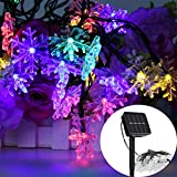 GESIMEI 10M 50LED Solar Multicolor Snowflake String Lights Indoor/Outdoor Waterproof Decorative Dimmable Lamp Fairy Landscape Lighting for Christmas New Year Wedding Party Tree Garden Stage Home Yard