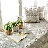 SQINAA Stickerei-erker-matte,Baumwolle fenster kissen balkon sitzmatte schwebende fenster decke matte sofa slipcovers -C 90x240cm(35x94inch)