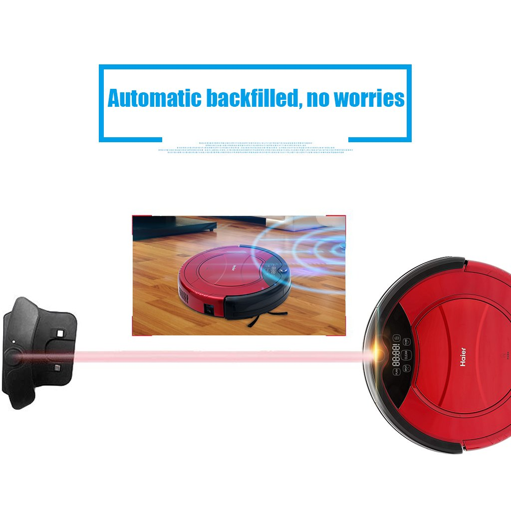 Haier - Robot aspirador (Pantalla LED, Autonomía 900 min, Silencioso 50db, Escalada 25 grados) (Rojo)