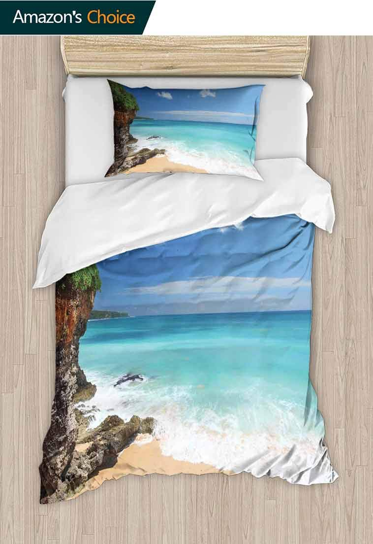 Seaside Decor Diy Duvet Cover and Pillowcase Set, Tropical Beach Seaside Cliff Under Clear Sky Coastline of Bali Island, Duvet Cover with Pillowcases Child Bedding Sets 2 Piece, 71 W x 79 L Inches