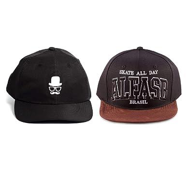 41b52cd883442 Kit 2pçs De Bonés Alfa Dad Hats Barber Snapback Skate All Day Preto ...