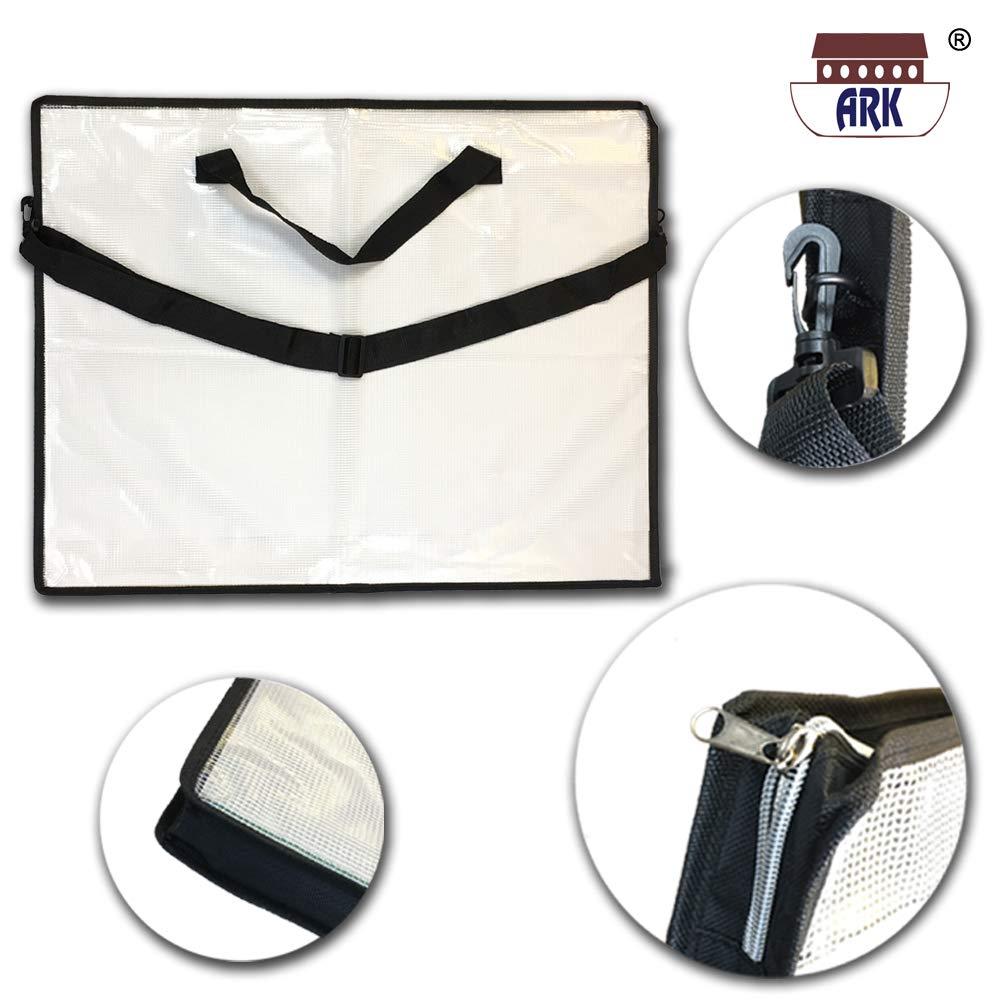Arca cartella in PVC formato A2/Carry case Art Tuff//cerniera borsa con tracolla//manico nero//trasparente