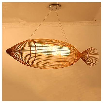 ADNFC Led araña de bambú Colgante de luz Comedor iluminación ...