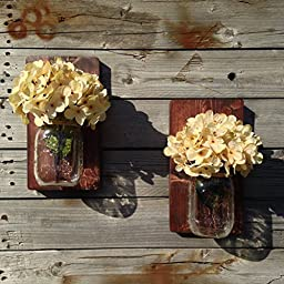 Two Handcrafted Rustic Mason Jar Wall Sconce With Optional Off White Hydrangea Spray