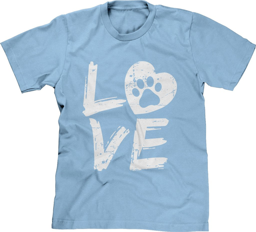 Blittzen Mens Love Paw Print In Heart, 2XL, Light Blue