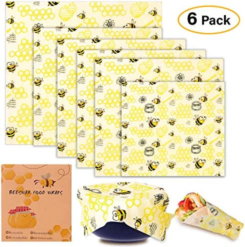 Envoltorio Cera De Abeja, paquete de 6 Paquete de envoltorios de alimentos Lavable Reutilizable Cera de abejas Envolturas Para Quesos, Frutas, Vegetales - 1*Pequeño, 4*Mediano y 1*Grande: Amazon.es: Hogar