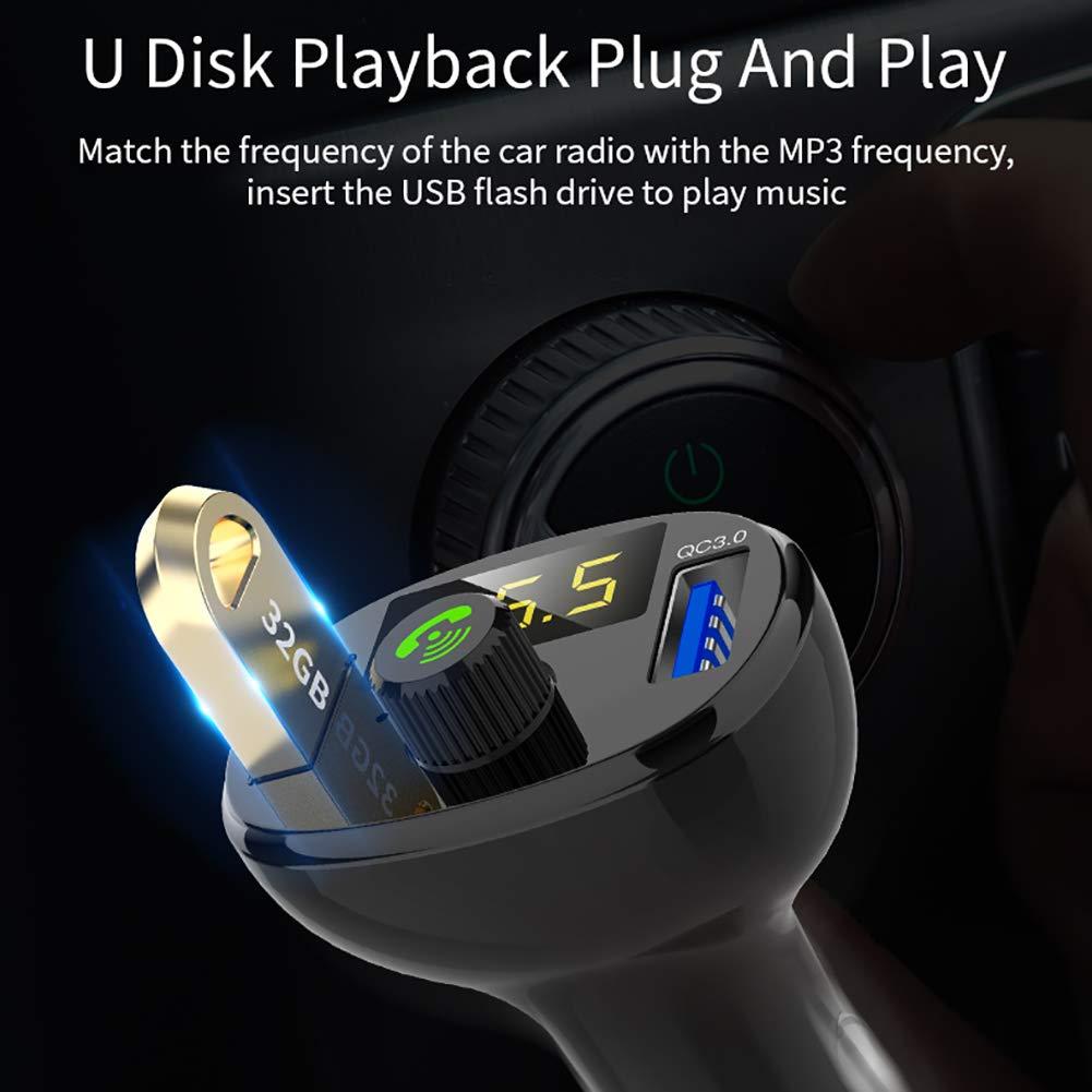 Inicio Bluetooth FM Transmitter f/ür Autoradio Adapter Freisprecheinrichtung Musik Player Ladeger/ät Unterst/ützung USB Car Charger