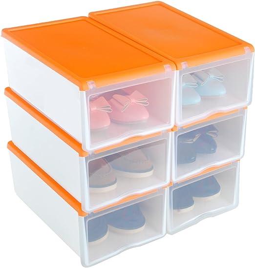 UUhome 6X Cajas de Zapatos Apilable Plástica Transparente ...