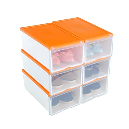 6x Cajas Organizadoras Apilables Anti-manchas Transparentes para Zapatos, Conjunto de Estantes Zapateros Desmontables