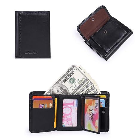 APHISONUK RFID Billetera de bloqueo suave de cuero genuino cartera para hombres de viaje Tri-