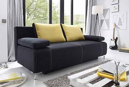 Sofá cama, en los colores negro (tejido) y amarillo (micro ...