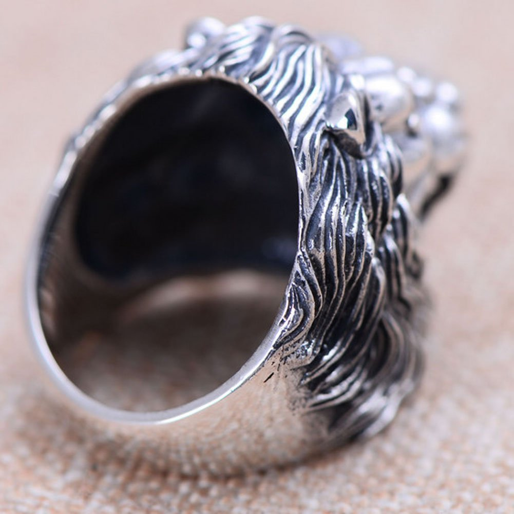 Jade Angel Men Style Lion Heads Design Chunky Black 925 Silver Ring