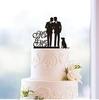 Same Sex Gay Mr Dog Wedding Anniverary Cake Topper Black