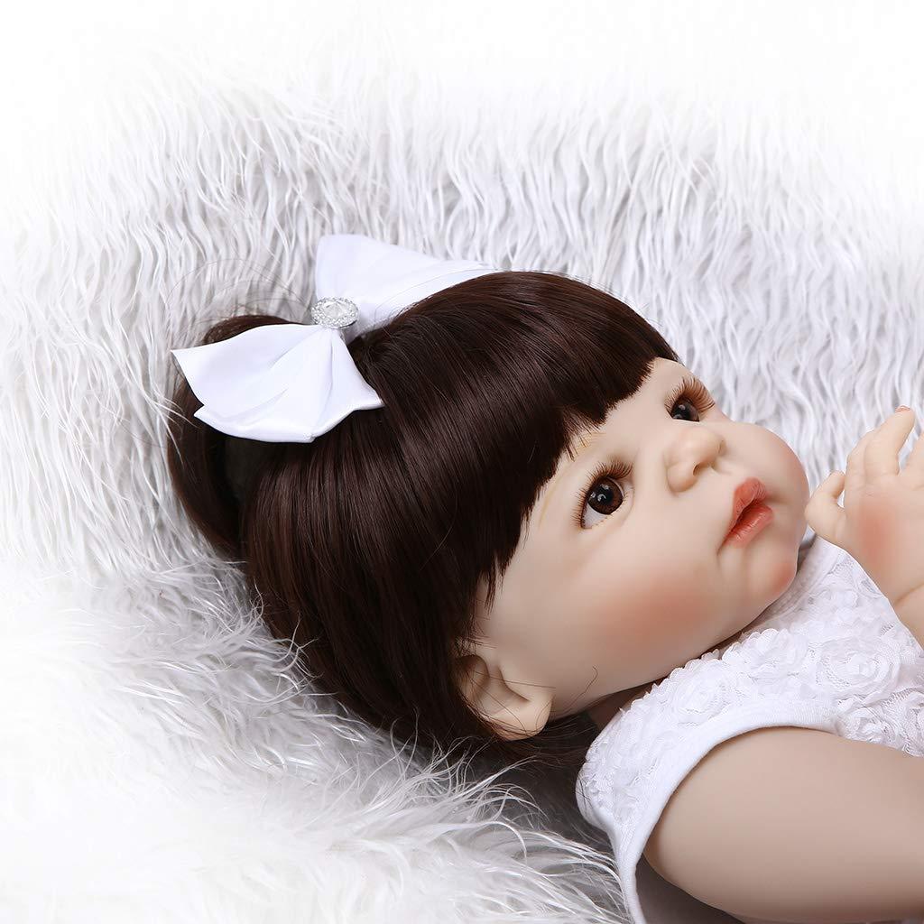 Kofun Puppe Wiedergeborenes Neugeborenes Baby Realike Puppe Kofun Handgemachtes Lebensechtes Silikon, Weiße Rosan Tüll Kleid Bogen Haarspange Ideale Weihnachtsgeburtstags-Puppe Für Kinder 22 Zoll 1a0c18