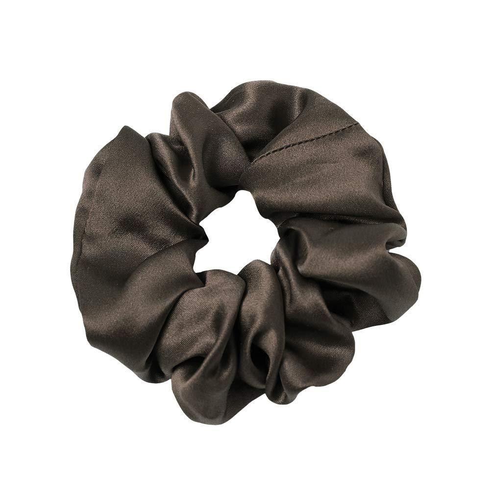 LilySilk Silk Charmeuse Scrunchy -Regular -Scrunchies For Hair - Silk Scrunchies For Women Soft Hair Care Chocolate