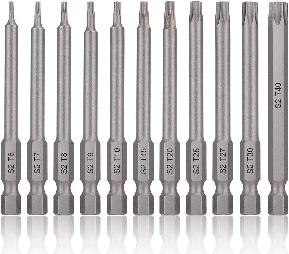 11pcs 75mm Magnetic Screwdriver Bit-S2 Steel Torx Head T6-T40 1//4/'/' Hex Shank