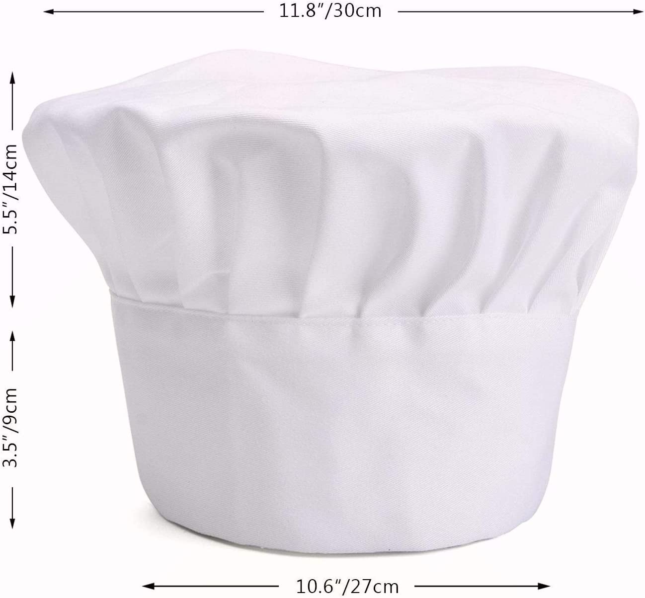 SMYLLS Chef Hat Adult Adjustable Size Poly Cotton Kitchen Ware Cooking Hat 1, White