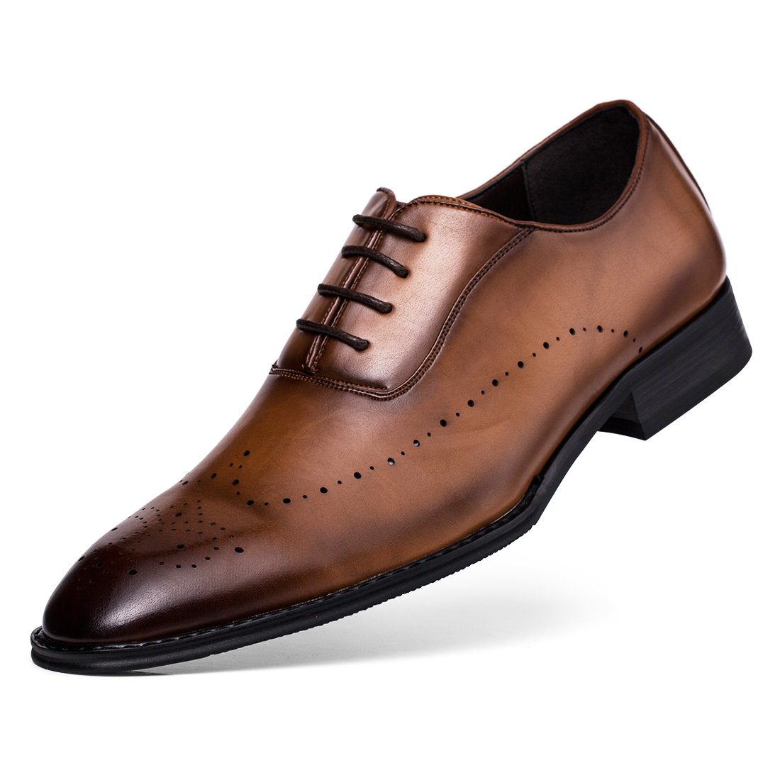 Jivana Oxford Busniess Dress Shoes Men Father Lace-up (11, Brown-7)