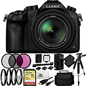 Panasonic Lumix DMC-FZ1000 Digital Camera, Black - 21PC Accessory Kit w/ SanDisk Extreme 32GB Memory Card, 2 Extended Life Replacement Batteries, 3 Piece Filter Kit, 4 Piece Macro Filter Set + MORE