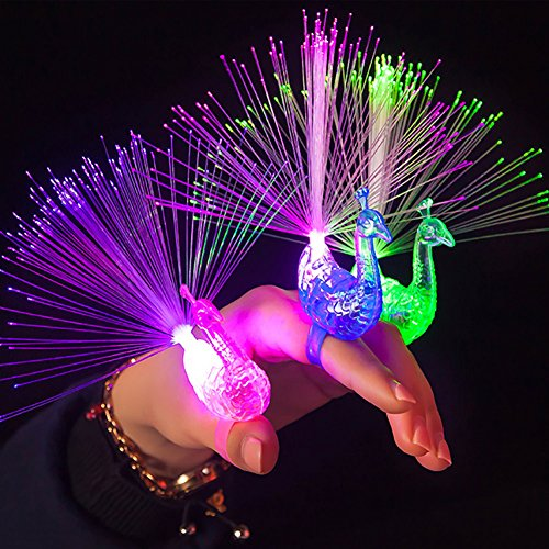 Price comparison product image OWIKAR 12Pcs LED Finger Light Ring Creative Colorful Peacock Finger Lights For Parties Cheering Novelty Glowing Toys Gifts For Kids Concert Props Wedding Festival Party Decor
