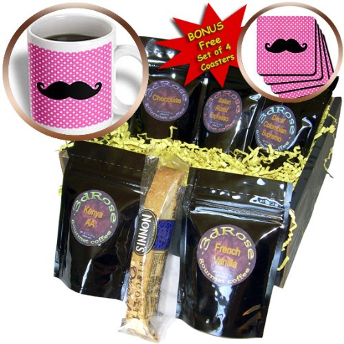 Mustaches Coffee Mugs (Janna Salak Designs Mustaches - Funny Black Mustache on Pink Polka Dots - Coffee Gift Baskets - Coffee Gift Basket (cgb_110762_1))