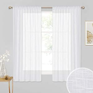 RYB HOME Decor Privacy White Sheer Curtains, Linen Wave Fabric Voile Drapes Simitransparent Diffuse Light Glare Filter for Bedroom Kids Room Living Room, White, 52-inch Wide x 63-inch Long, 1 Pair