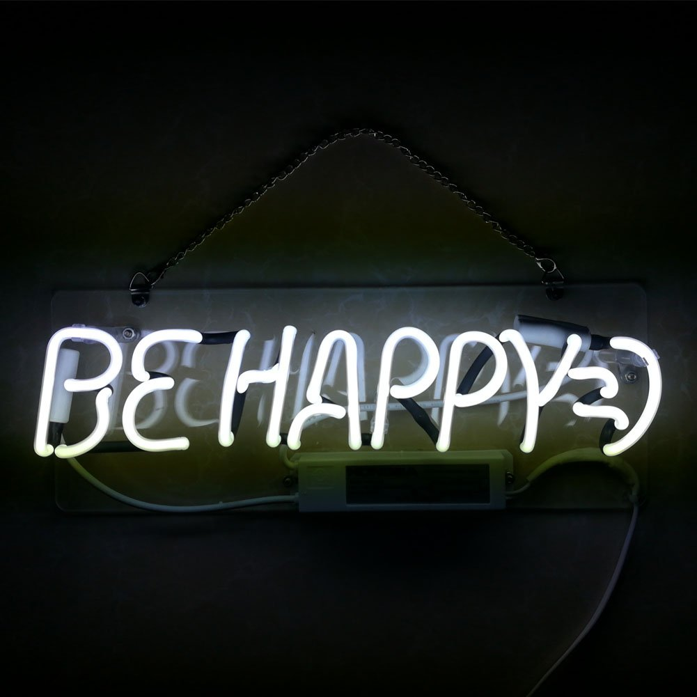 Mugua ''BE HAPPY' Beer Neon Sign 14'' x 5'' for Home Bedroom Pub Hotel Beach Recreational Game Room Decor Garage Wall Sign