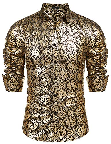 COOFANDY Men's Luxury Design Shirts Floral Dress Shirt Casual Button Down Shirts Gold