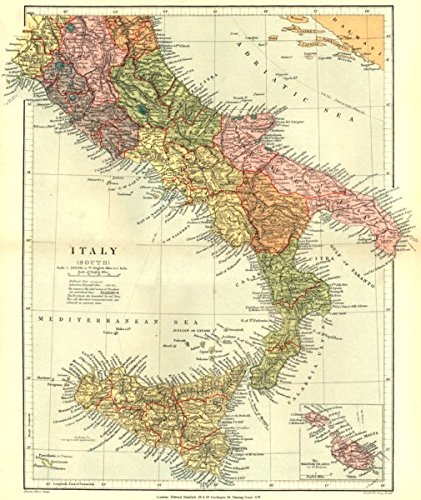 Map Of Italy And Islands.Amazon Com Italy Italy South Inset Map Of The Maltese Islands