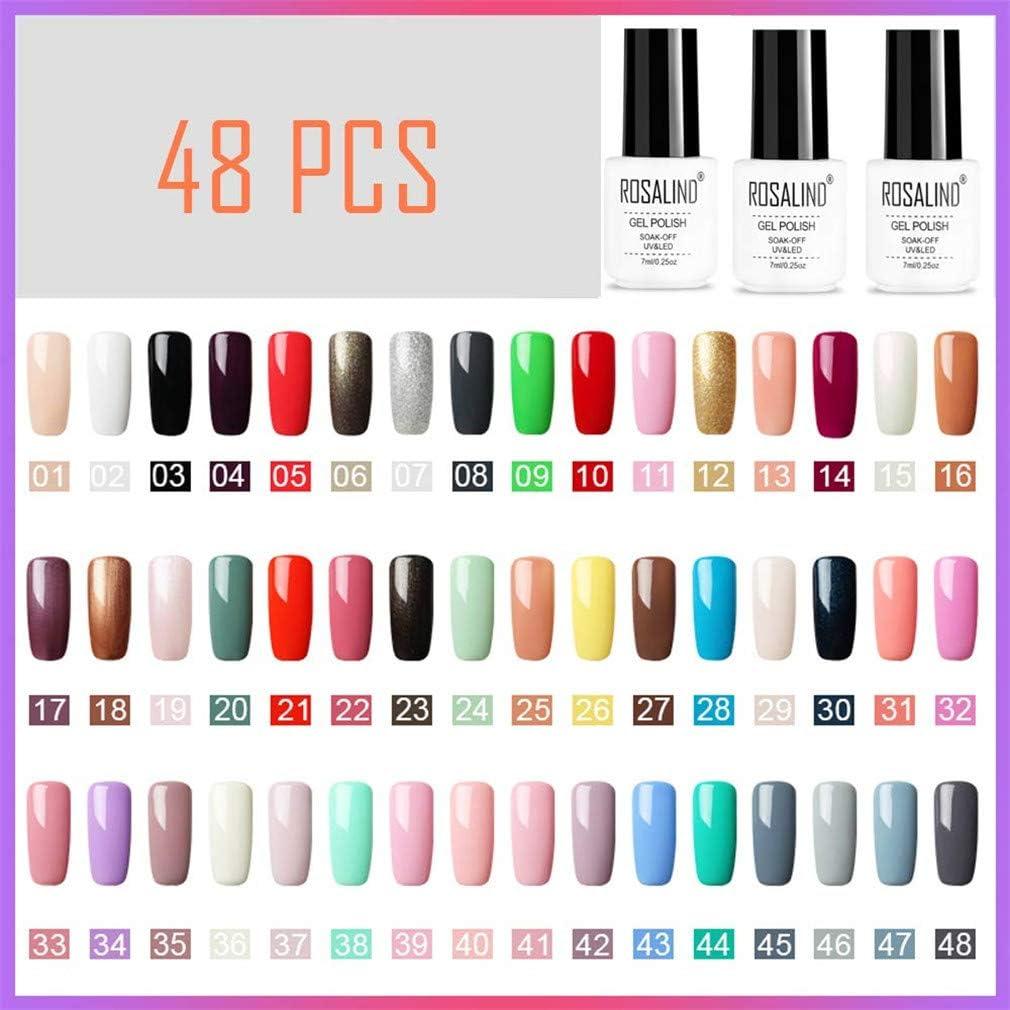 ROSALIND 48PCS / Set, Colección de color puro UV Gel Nail Polish Set Nail Art Esmalte de uñas semipermanente…