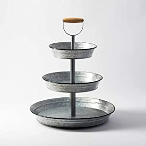 1 x 3 Tier Galvanized Round Metal Stand Outdoor Indoor Serveware for Fruits and Vegetables Food by Sam's West
