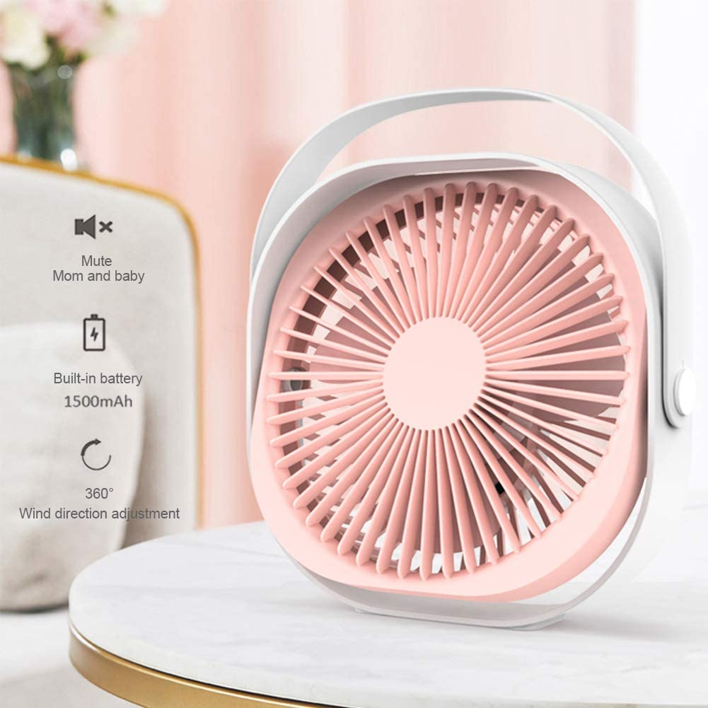 Desk Personal Fan, 7inch USB Portable Fan Rechargeable 1500mAh Three-Speed Wind for Home, Office and Car Pink