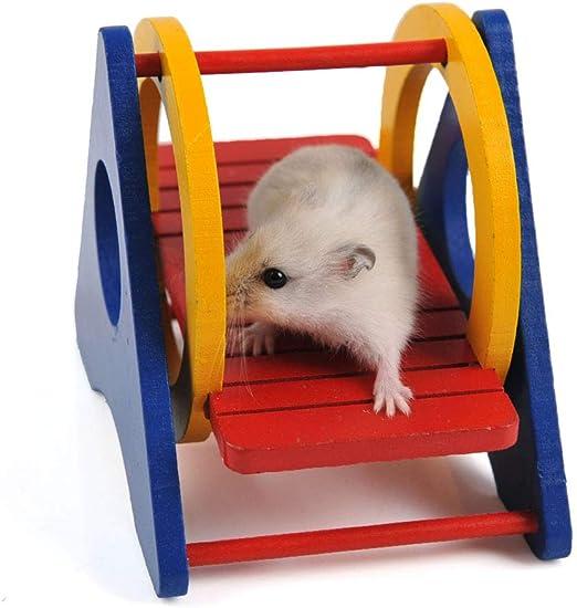 Zbnoofhh Hamster de Juguete balancín de Madera Zoom Escalera Arco Iris balancín Colgando de la Escalera del Puente para Hamster, Loro Ejercicio Divertido Juguete: Amazon.es: Hogar