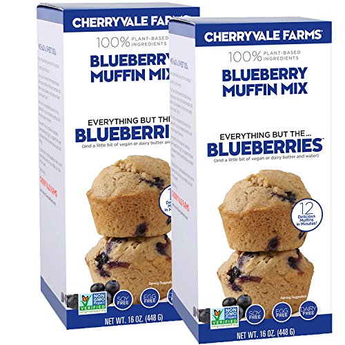 Muffins Organic - Cherryvale Farms, Blueberry Muffin Baking Mix, Everything But The Blueberries, Add Fresh Produce, Tastes Homemade, Non-GMO, Vegan, 100% Plant-Based, 16 oz (pack of 2)