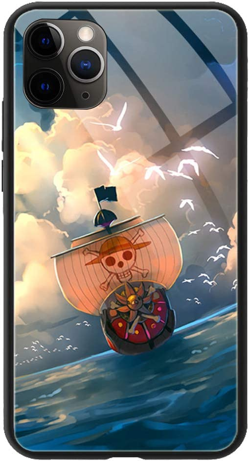 Phone Case Compatible with iPhone 11, Anime One Piece Thousand Sunny Pattern Tempered Glass Back Cover Soft Silicone Anti Scratch Bumper Design Phone ...