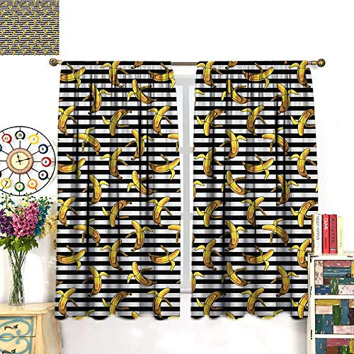 IndieSolid Rod Pocket short Blackout DrapesPattern with Horizontal Stripes and Banana Tropical Fruits Exotic Tasty FoodBlackout Curtain Panels Window Draperies Rod Pocket Black White Yellow. W63
