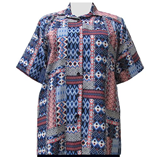 A Personal Touch Women's Plus Size Blue & Red Tribal Short Sleeve Button-Down Blouse - 6X