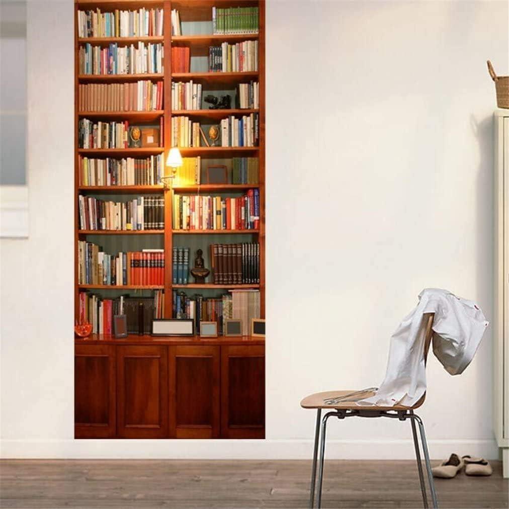 """Sunm Boutique Bookcase Door Stickers Murals, Self-Adhesive Door Decals 3D Wall Sticker Reusable Wallpaper Peel and Stick Vinyl Door Mural Decals for Home Decor 30.3""""x78.7"""""""