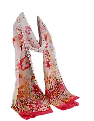 Prettystern HL766 - 180cm X55cm Bufanda de seda - flores y mariposas - disponible en 4 colores