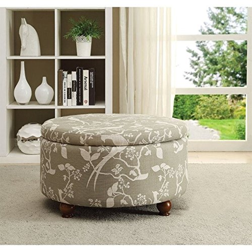 Coaster 500060 Home Furnishings Storage Ottoman, Grey/Off Wh