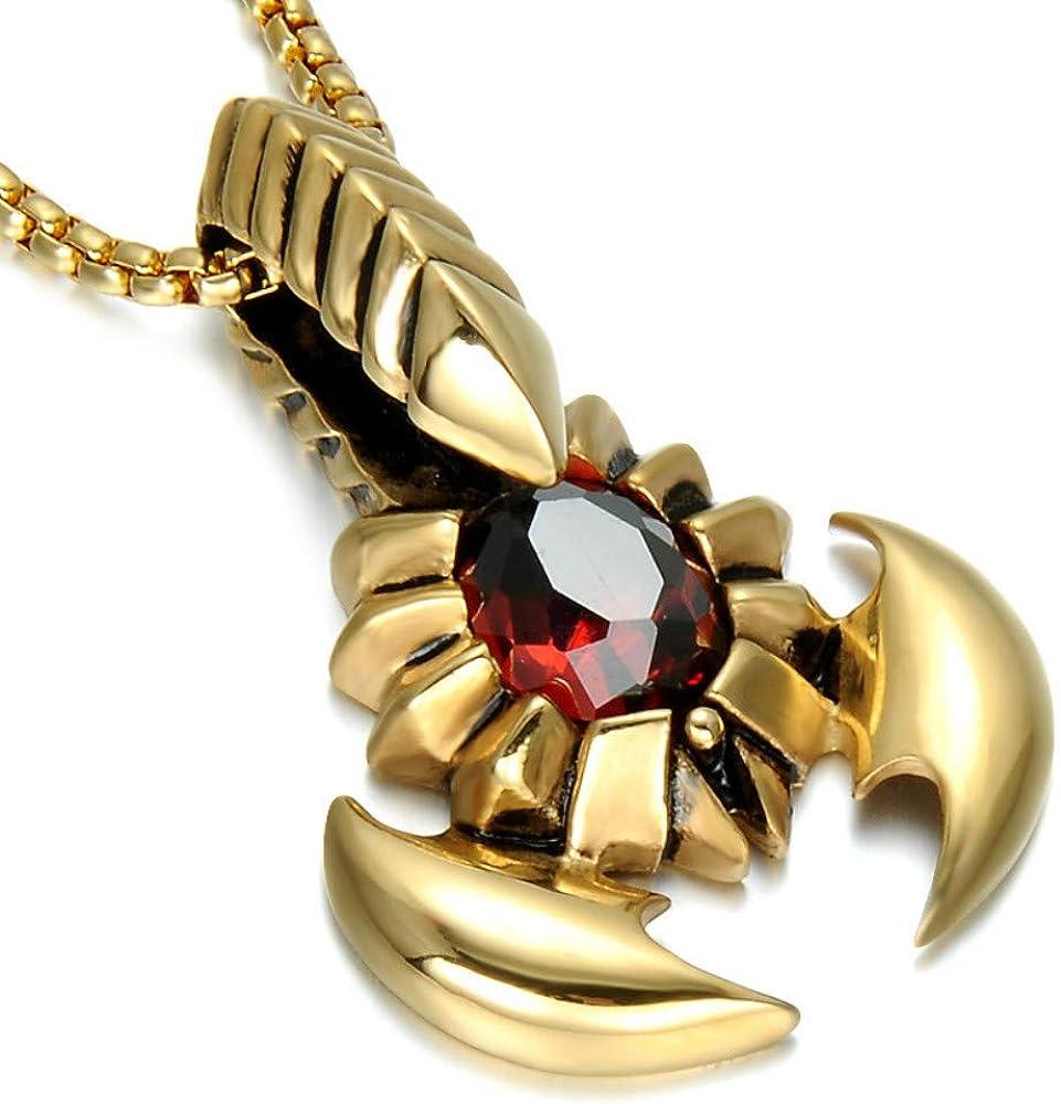USUSAI - Collar con Colgante de Acero Inoxidable para Hombre, Grande, ágata, Oro Plateado, Rojo, escorpión King – con Cadena de 58,4 cm