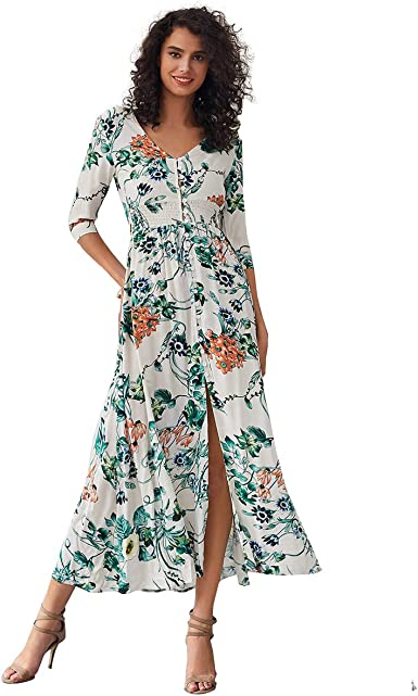 Floral Maxi Dresses Women Bohemian Printed Sundress Summer V Neck Sleeveless A-Line Party Holiday Beach Flowy Dress