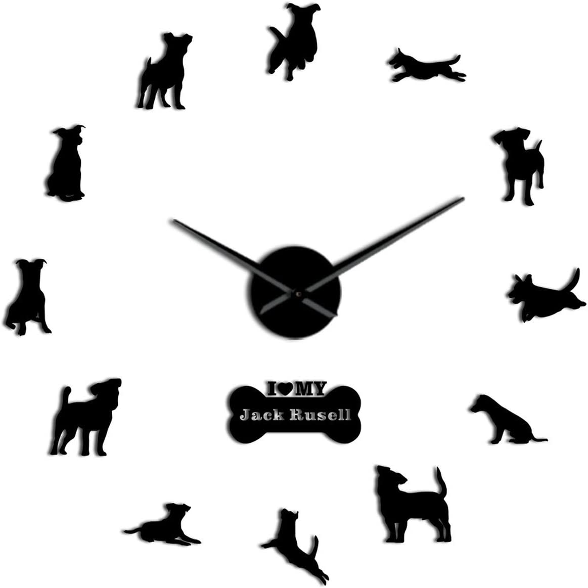 Amazon Com Fyttq Clocks Battery Operated Fox Hunting Dog Jack Russell Terrier Large Size Contemporary Wall Clock Small Terrier Dog Breed Gift Mirror Effect Wall Art Black 37 Inch Home Kitchen