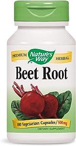 Nature's Way Beet Root; 1 gram Beet Root per serving; TRU-ID Certified; Gluten-Free; Vegetarian; 100 Capsules (Packaging May Vary)