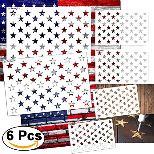 6 Pieces Star Stencil 50 Stars American Flag Template for Painting on Fabric,Airbrush,Wood,2 Large,2 Medium and 2 Small Reusable Starfield Stencils by Blosion