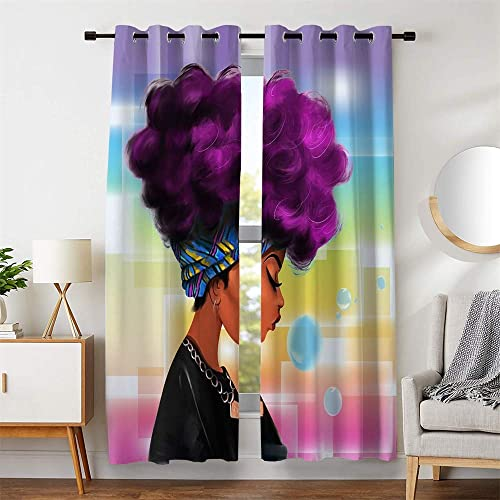 106″W x 84″L Room Decor Window Curtains African Girl Big Purple Hair Blue Yellow Blue Blackout For Living Room Bedroom Drapes 2 Panels Set